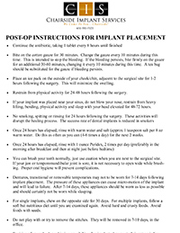 CIS Post Op Instructions for Implant Placement
